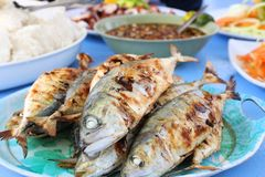 Barbecued fish. Lunch in Philippines boat tour royalty free stock photo