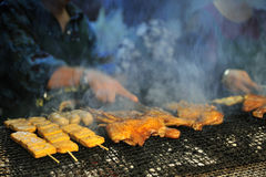 Barbecued Food in Taiwan Night Market. Barbecued food selling in Taiwan Night Market royalty free stock images