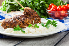 Barbecued kofta with rice on a plate Royalty Free Stock Images