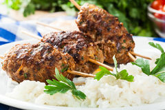 Barbecued kofta with rice on a plate Royalty Free Stock Photography