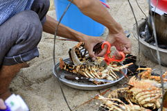 Barbecued Lobster. Preparation of Barbecued Lobster at the Beach in Nha Trang in Vietnam Royalty Free Stock Image