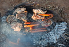 Barbecued meat and sausages. Flinders Ranges. Sout Royalty Free Stock Image