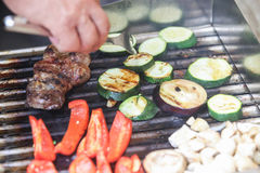 Barbecued meat and vegetables Stock Photography