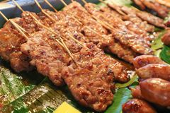 Barbecued pork or grilled pork. Thai food royalty free stock photos