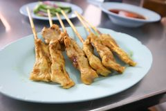 Barbecued pork or pork satay. Barbecue or barbecued pork or pork satay royalty free stock images
