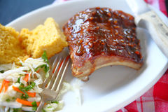 Barbecued pork rib dinner Stock Images