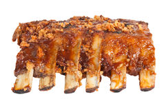 Barbecued pork ribs. Over white background Royalty Free Stock Photo