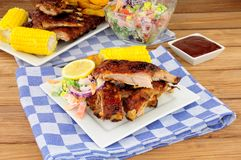 Barbecued Pork Ribs Meal royalty free stock photography