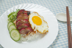 Barbecued pork with rice and omelette. On the blue checkered tablecloth Stock Photo