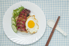Barbecued pork with rice and omelette. On the blue checkered tablecloth Royalty Free Stock Photos