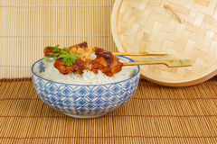 Barbecued pork satay with rice and fried onions Royalty Free Stock Photography