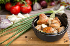 Barbecued Pork Skewers. With vegetables Stock Photos