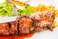 Barbecued pork spare ribs Royalty Free Stock Images