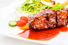 Barbecued pork spare ribs Royalty Free Stock Photography