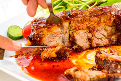Barbecued pork spare ribs Royalty Free Stock Photos