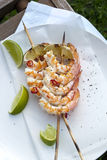 Barbecued Prawn Skewers Stock Photography
