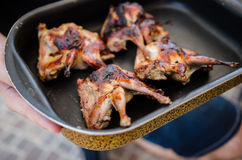 Barbecued quails Stock Photo
