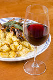 Barbecued Quails With A Glass Of Red Wine 1 Stock Image