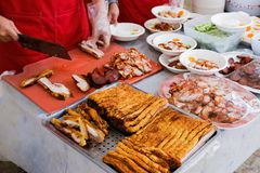Barbecued red pork and crispy pork royalty free stock image