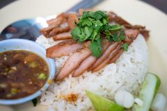 Barbecued red pork with rice and sauce Stock Image