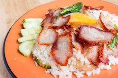 Barbecued red pork in sauce with rice. Royalty Free Stock Photography