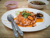 Barbecued red pork in sauce with rice. stock photography