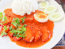Barbecued red pork in sauce with rice Royalty Free Stock Photography