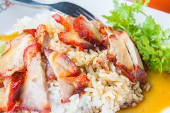 The Barbecued red pork in sweet sauce with rice and cucumber on table. Barbecued red pork in sweet sauce with rice and cucumber on table stock images