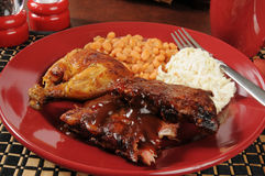 Barbecued ribs and chicken. Barbecued baby back ribs and chicken with coleslaw and baked beans stock photo