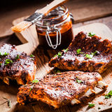 Barbecued ribs in a spicy marinade Royalty Free Stock Photography