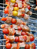 Barbecued salmon on grill with cherry tomatoes Stock Photos