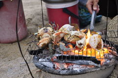 Barbecued Shellfish. Various shellfish on the grill at the beach in Nha Trang in Vietnam stock photography