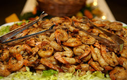 Barbecued shrimp. Pile of freshly barbecued, spicy shrimp stock photo