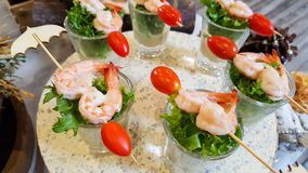 Barbecued shrimp in a very pleasant stock image