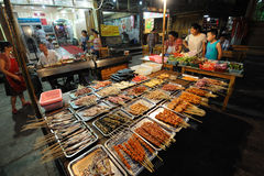 Barbecued Street Foods at night Royalty Free Stock Photography