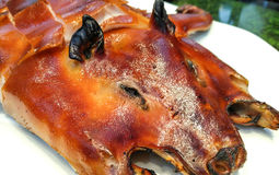 Barbecued suckling pig. Cut to plant at Chinese restaurant Food Thai royalty free stock photos