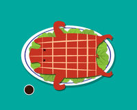 Barbecued suckling pig in flat style, vector Royalty Free Stock Photos