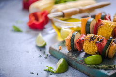 Barbecued vegetables skewers Stock Photography