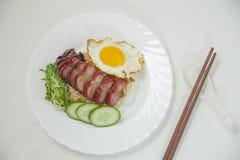 Barbecued wieprzowina z ryż i omelette Zdjęcie Royalty Free