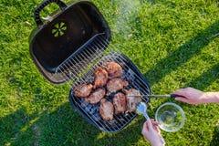 Barbecuegrill met diverse soorten vlees Geplaatst op gras Stock Afbeelding