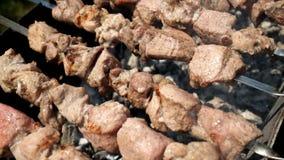 Barbecuepartij Chef-kok die heerlijk vlees koken bij openluchtgrill stock footage