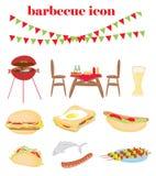 Barbecuepartij - reeks pictogrammen Royalty-vrije Stock Foto's