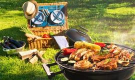 Barbecuepicknick stock foto's