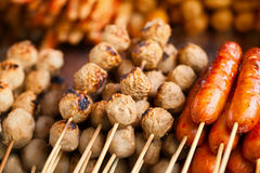 Barbecues on counter of the Asian market Stock Photos