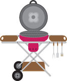 Barbecues round mobile on wheels Royalty Free Stock Photography