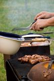 Barbecuing Chicken  Royalty Free Stock Image
