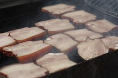 Barbecuing meat on charcoal fire closeup image. Stock Images