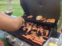 Barbecuing at the recreation park. Barbecuing chicken and hot dogs at the recreation park Stock Photo