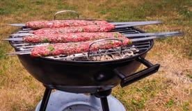 Barbecuing shish kebab Stock Images
