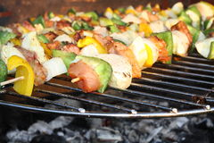 Barbecuing skewers on grill Stock Photography